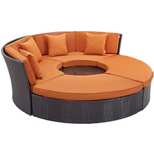 Convene Circular Outdoor Patio Daybed Set, Orange, Rattan 10457