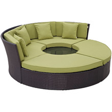 Convene Circular Outdoor Patio Daybed Set, Green, Rattan 10458