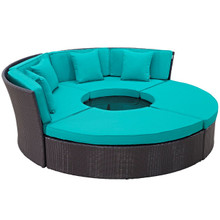 Convene Circular Outdoor Patio Daybed Set, Blue, Rattan 10460
