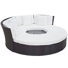 Convene Circular Outdoor Patio Daybed Set, White, Rattan 10461