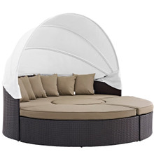 Convene Canopy Outdoor Patio Daybed, Brown, Rattan 10469