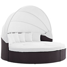 Convene Canopy Outdoor Patio Daybed, White, Rattan 10474
