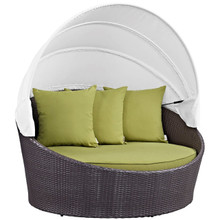 Convene Canopy Outdoor Patio Daybed, Green, Rattan 10484