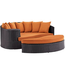 Convene Outdoor Patio Daybed, Orange, Rattan 10489