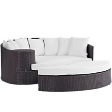 Convene Outdoor Patio Daybed, White, Rattan 10493