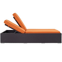 Convene Double Outdoor Patio Chaise, Orange, Rattan 10495