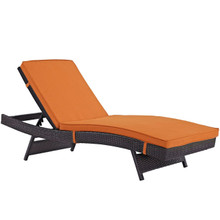 Convene Outdoor Patio Chaise, Orange, Rattan 10508