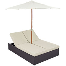 Convene Double Outdoor Patio Chaise, Beige, Rattan 10513