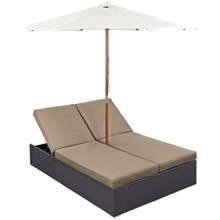 Convene Double Outdoor Patio Chaise, Brown, Rattan 10514