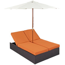 Convene Double Outdoor Patio Chaise, Orange, Rattan 10515
