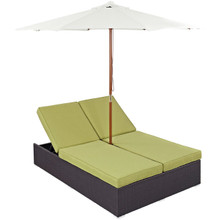 Convene Double Outdoor Patio Chaise, Green, Rattan 10516