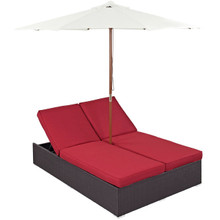 Convene Double Outdoor Patio Chaise, Red, Rattan 10517