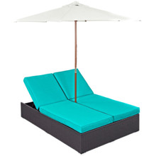 Convene Double Outdoor Patio Chaise, Blue, Rattan 10518