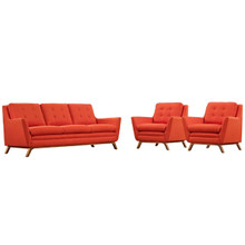 Beguile Three PCS Upholstered Fabric Living Room Set, Red, Fabric 10520