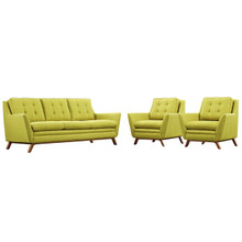 Beguile Three PCS Upholstered Fabric Living Room Set, Green, Fabric 10526