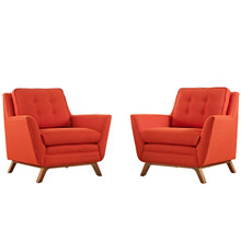 Beguile Armchair ( Set of Two), Red, Fabric 10527