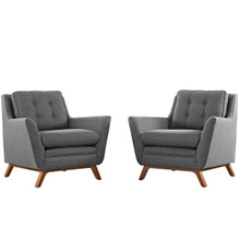 Beguile Armchair ( Set of Two), Grey, Fabric 10529