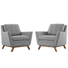 Beguile Armchair ( Set of Two), Grey, Fabric 10530