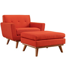 Engage Armchair and Ottoman, Red, Fabric 10539