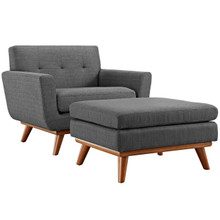 Engage Armchair and Ottoman, Grey, Fabric 10542