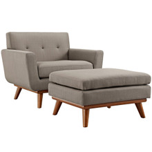 Engage Armchair and Ottoman, Grey, Fabric 10543