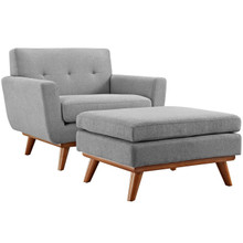 Engage Armchair and Ottoman, Grey, Fabric 10544