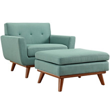 Engage Armchair and Ottoman, Blue, Fabric 10545