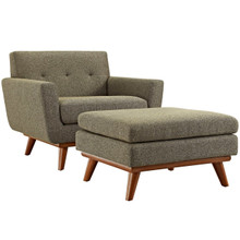 Engage Armchair and Ottoman, Grey, Fabric 10546