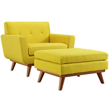 Engage Armchair and Ottoman, Yellow, Fabric 10547