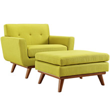 Engage Armchair and Ottoman, Green, Fabric 10548