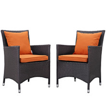 Convene Dining Chair ( Set of Two), Orange, Rattan 10551