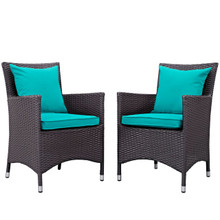 Convene Dining Chair ( Set of Two), Blue, Rattan 10554