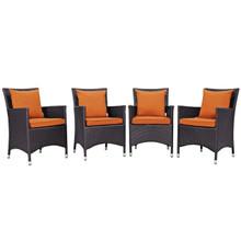 Convene Four PCS Outdoor Patio Dining Set, Orange, Rattan 10558