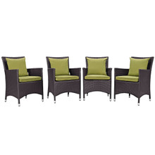 Convene Four PCS Outdoor Patio Dining Set, Green, Rattan 10559