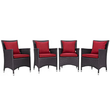 Convene Four PCS Outdoor Patio Dining Set, Red, Rattan 10560
