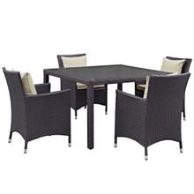 Convene Five PCS Outdoor Patio Dining Set, Beige, Rattan 10563