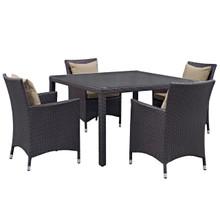 Convene Five PCS Outdoor Patio Dining Set, Brown, Rattan 10564