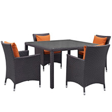 Convene Five PCS Outdoor Patio Dining Set, Orange, Rattan 10565