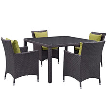 Convene Five PCS Outdoor Patio Dining Set, Green, Rattan 10566