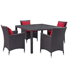 Convene Five PCS Outdoor Patio Dining Set, Red, Rattan 10567