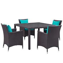 Convene Five PCS Outdoor Patio Dining Set, Blue, Rattan 10568