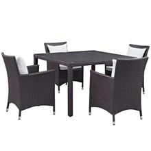 Convene Five PCS Outdoor Patio Dining Set, White, Rattan 10569