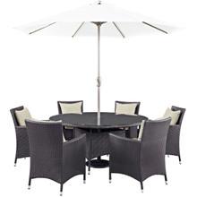 Convene Eight PCS Outdoor Patio Dining Set, Beige, Rattan 10578