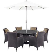Convene Eight PCS Outdoor Patio Dining Set, Brown, Rattan 10579