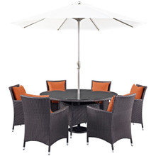 Convene Eight PCS Outdoor Patio Dining Set, Orange, Rattan 10580