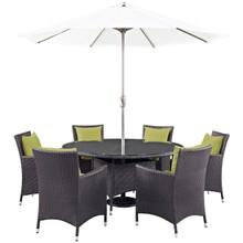 Convene Eight PCS Outdoor Patio Dining Set, Green, Rattan 10581