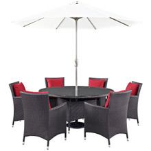Convene Eight PCS Outdoor Patio Dining Set, Red, Rattan 10582