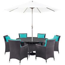 Convene Eight PCS Outdoor Patio Dining Set, Brown, Rattan 10583