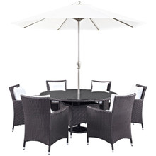 Convene Eight PCS Outdoor Patio Dining Set, White, Rattan 10584