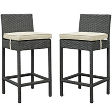 Sojourn Bar Stool Chair ( Set of Two), Beige, Rattan 10585
